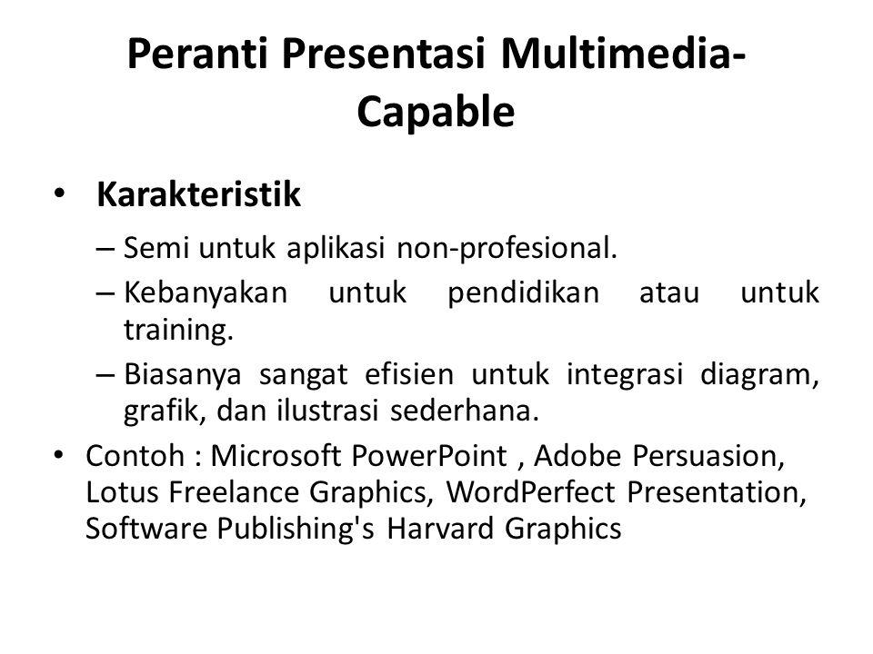 Peranti Presentasi Multimedia- Capable Karakteristik – Semi untuk aplikasi non-profesional. – Kebanyakan untuk pendidikan atau untuk training. – Biasa