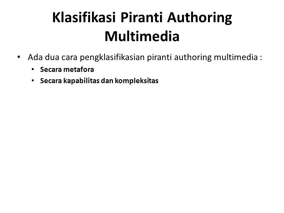 Klasifikasi Piranti Authoring Multimedia Ada dua cara pengklasifikasian piranti authoring multimedia : Secara metafora Secara kapabilitas dan kompleks