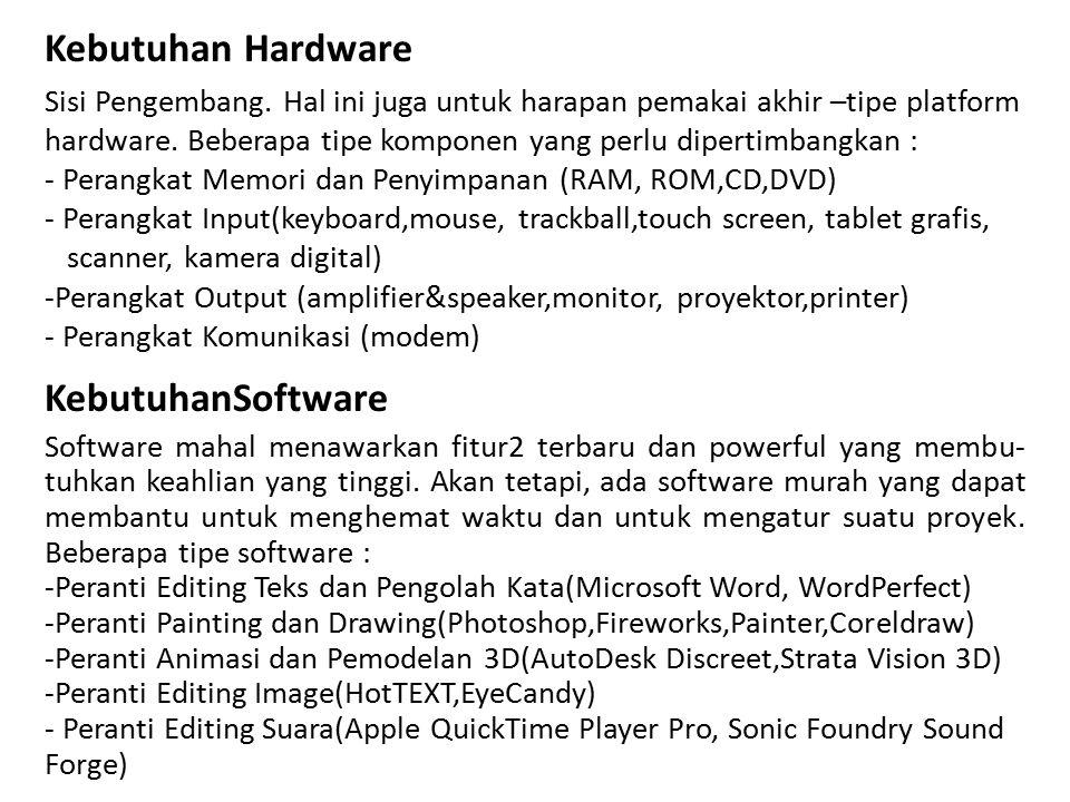 Kebutuhan Hardware Sisi Pengembang. Hal ini juga untuk harapan pemakai akhir –tipe platform hardware. Beberapa tipe komponen yang perlu dipertimbangka