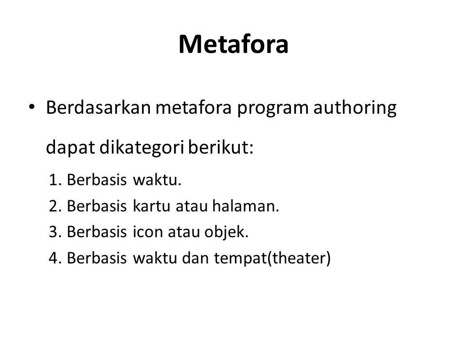 Metafora Berdasarkan metafora program authoring dapat dikategori berikut: 1. Berbasis waktu. 2. Berbasis kartu atau halaman. 3. Berbasis icon atau obj