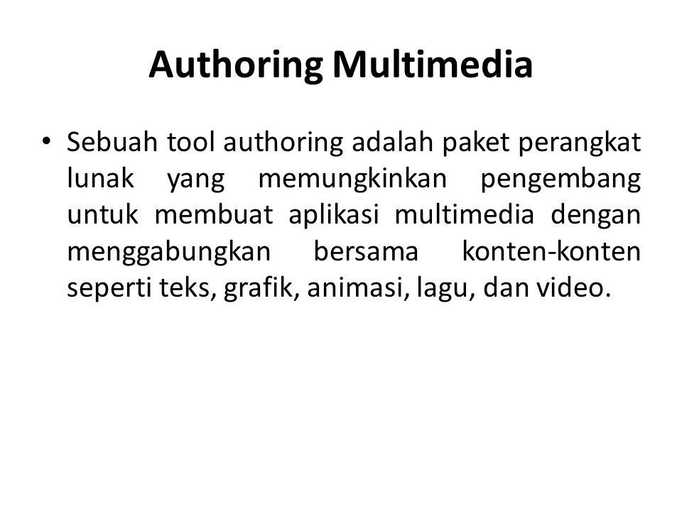 Authoring Multimedia Sistem authoring dimaksudkan yang digunakan oleh pengguna yang bukan programmer tradisional atau bahkan tidak tahu bahasa pemrograman tapi ingin membuat presentasi multimedia interaktif atau produk atau materi pembelajaran berbasis komputer.