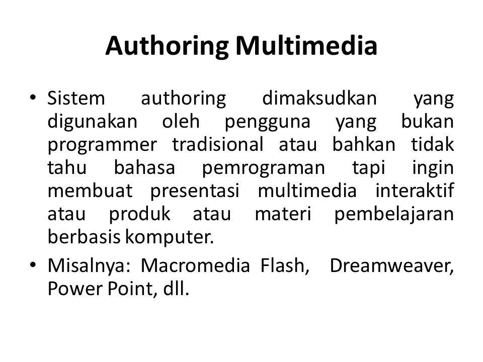 Authoring Multimedia Peran Perangkat Lunak Authoring : o Menghasilkan konten dengan: teks, grafik, suara, animasi.