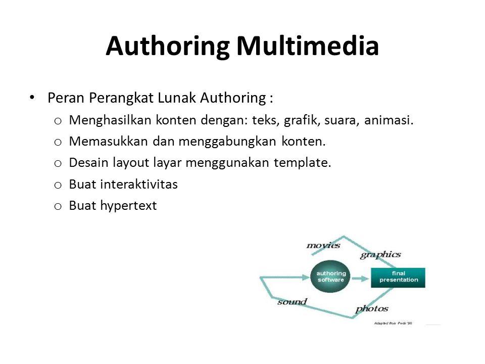 Authoring Multimedia Peran Perangkat Lunak Authoring : o Menghasilkan konten dengan: teks, grafik, suara, animasi. o Memasukkan dan menggabungkan kont