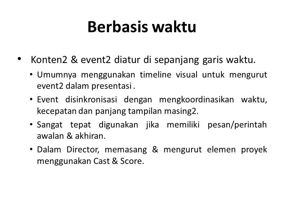 Berbasis waktu Konten2 & event2 diatur di sepanjang garis waktu. Umumnya menggunakan timeline visual untuk mengurut event2 dalam presentasi. Event dis