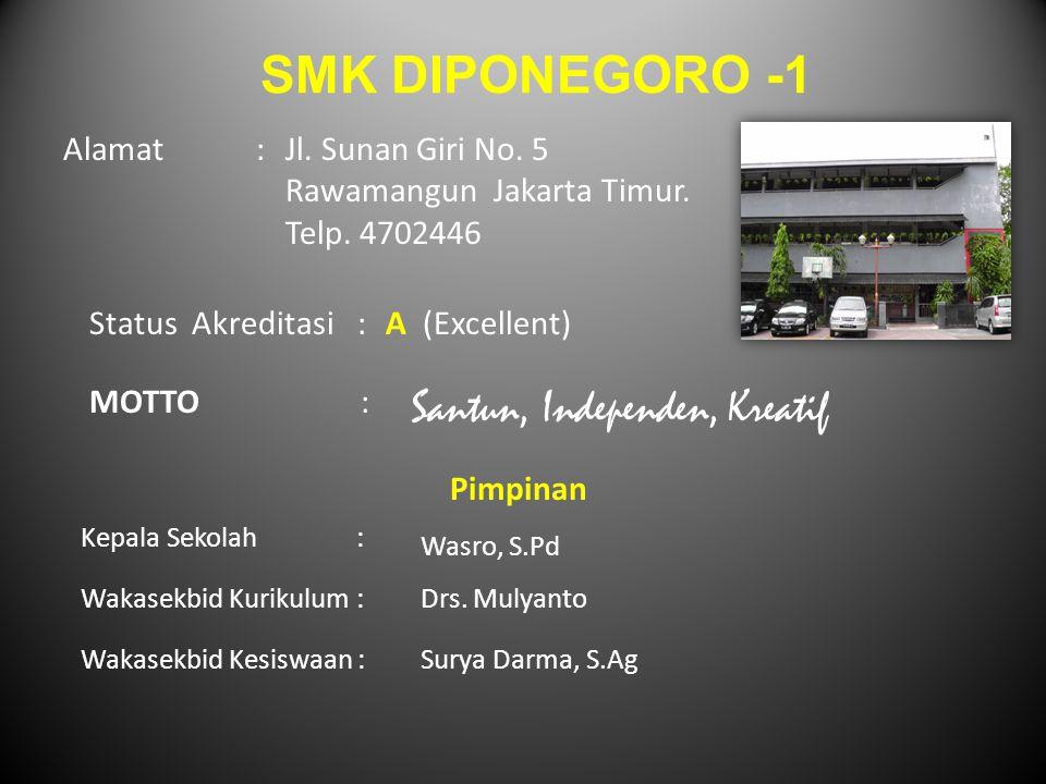 SMK DIPONEGORO -1 Alamat :Jl. Sunan Giri No. 5 Rawamangun Jakarta Timur. Telp. 4702446 Status Akreditasi: A (Excellent) MOTTO : Santun, Independen, Kr