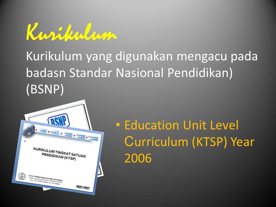 Kurikulum Kurikulum yang digunakan mengacu pada badasn Standar Nasional Pendidikan) (BSNP) Education Unit Level C urriculum (KTSP) Year 2006