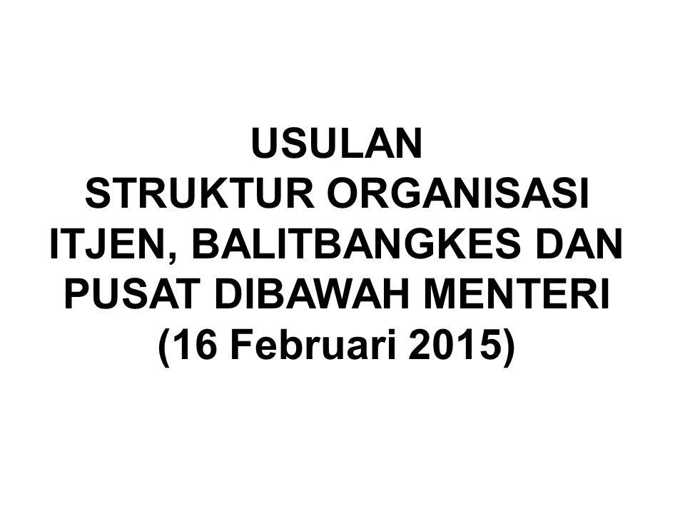 USULAN STRUKTUR ORGANISASI ITJEN, BALITBANGKES DAN PUSAT DIBAWAH MENTERI (16 Februari 2015)