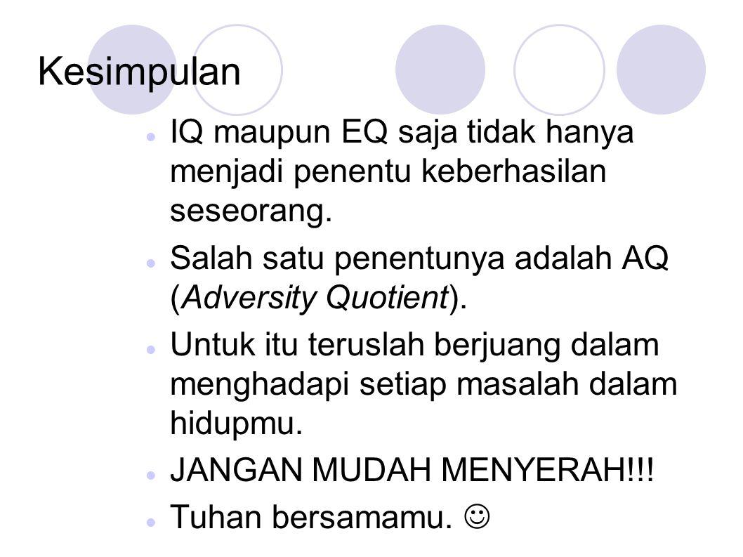 Kesimpulan IQ maupun EQ saja tidak hanya menjadi penentu keberhasilan seseorang. Salah satu penentunya adalah AQ (Adversity Quotient). Untuk itu terus
