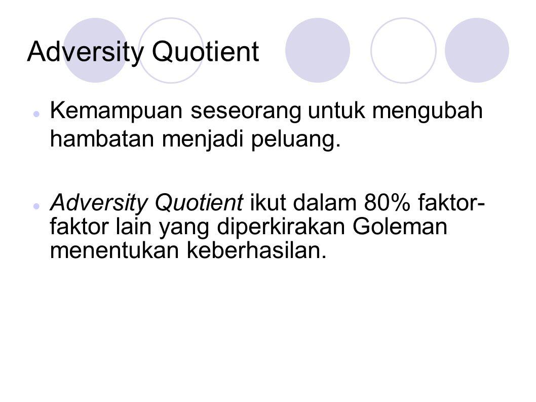 Adversity Quotient Kemampuan seseorang untuk mengubah hambatan menjadi peluang. Adversity Quotient ikut dalam 80% faktor- faktor lain yang diperkiraka