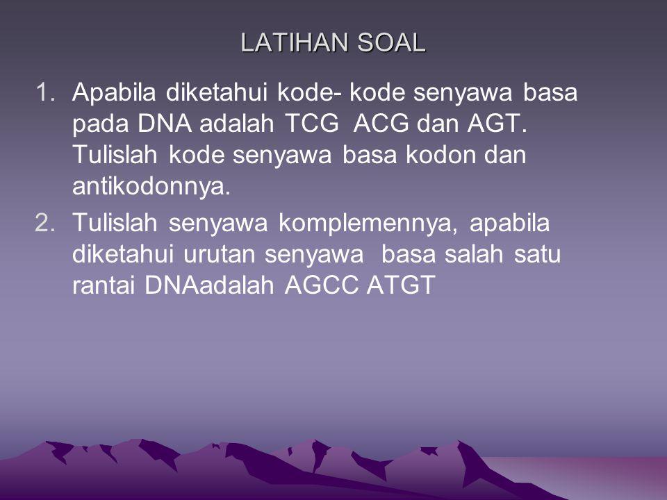 LATIHAN SOAL 1.Apabila diketahui kode- kode senyawa basa pada DNA adalah TCG ACG dan AGT.