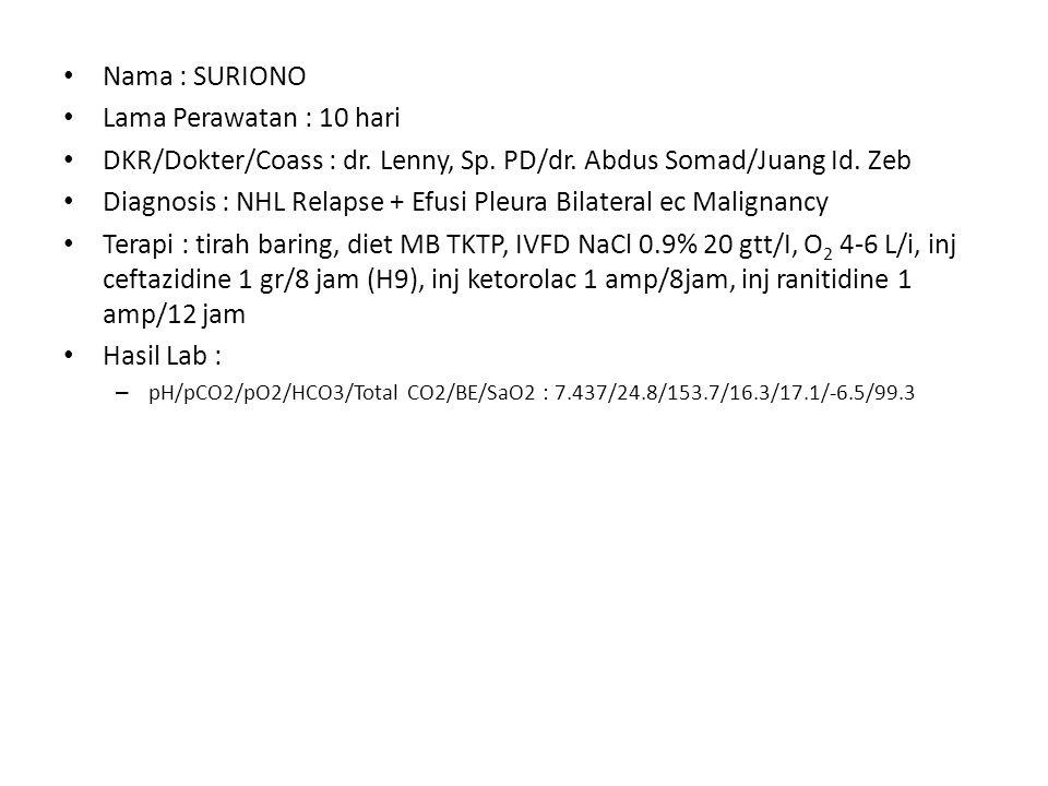 Nama : SURIONO Lama Perawatan : 10 hari DKR/Dokter/Coass : dr. Lenny, Sp. PD/dr. Abdus Somad/Juang Id. Zeb Diagnosis : NHL Relapse + Efusi Pleura Bila