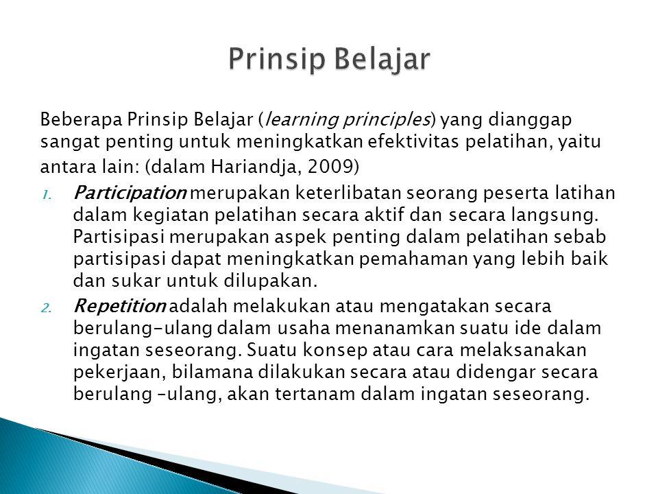 Beberapa Prinsip Belajar (learning principles) yang dianggap sangat penting untuk meningkatkan efektivitas pelatihan, yaitu antara lain: (dalam Harian