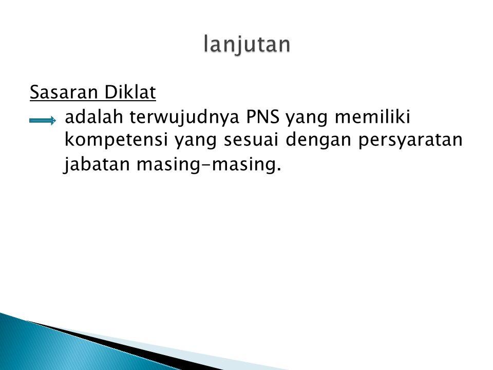 Sasaran Diklat adalah terwujudnya PNS yang memiliki kompetensi yang sesuai dengan persyaratan jabatan masing-masing.