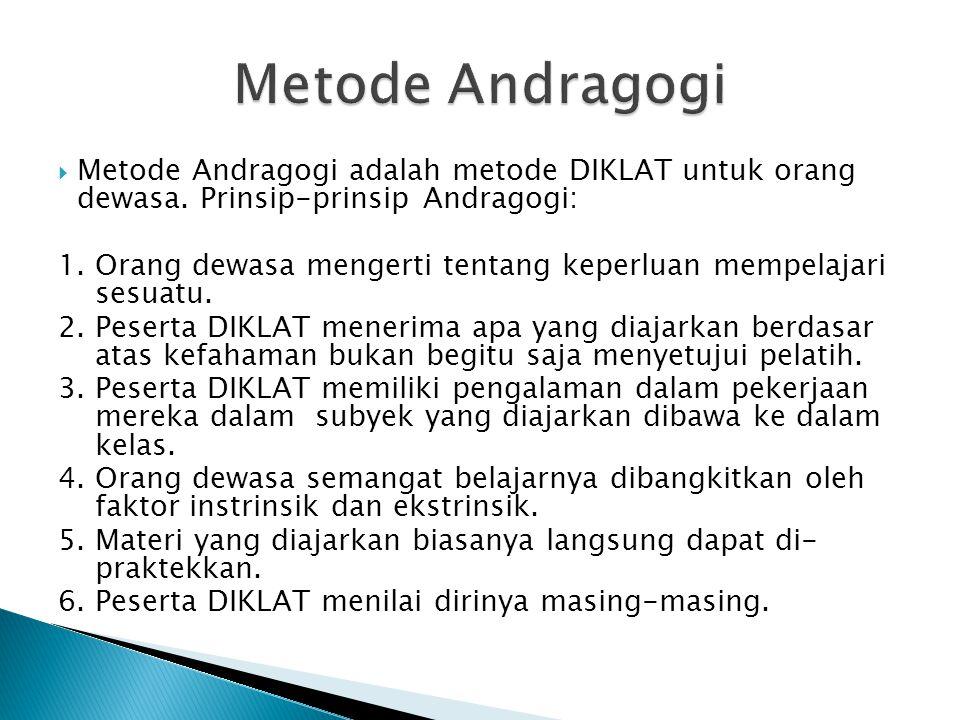 Metode Andragogi adalah metode DIKLAT untuk orang dewasa. Prinsip-prinsip Andragogi: 1. Orang dewasa mengerti tentang keperluan mempelajari sesuatu.