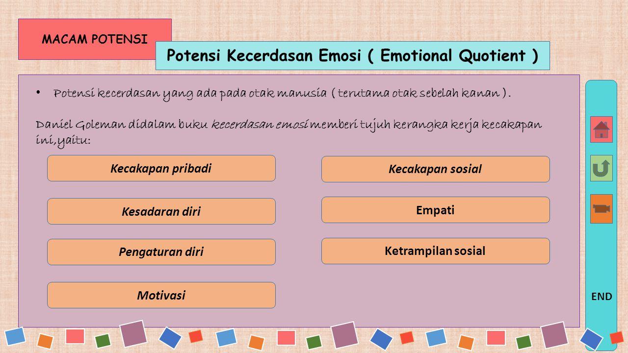 MACAM POTENSI Potensi Mental Intelektual (Intelegent Quotient) Potensi kecerdasan yang ada pada otak manusia ( terutama otak sebelah kiri ) Menurut Ga