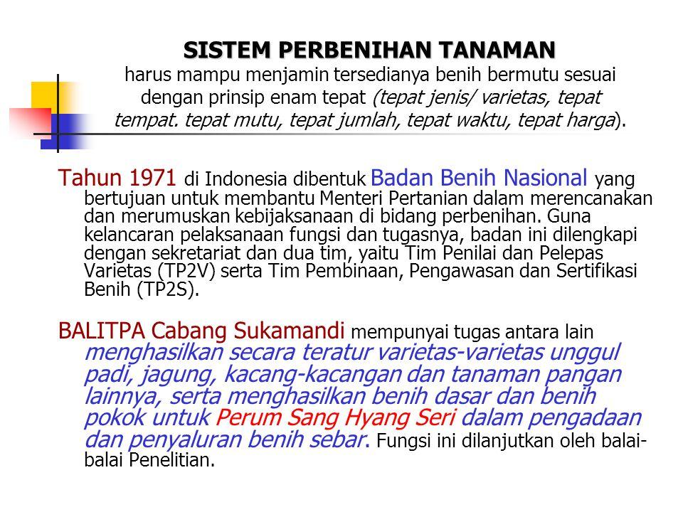 Tahun 1971 di Indonesia dibentuk Badan Benih Nasional yang bertujuan untuk membantu Menteri Pertanian dalam merencanakan dan merumuskan kebijaksanaan