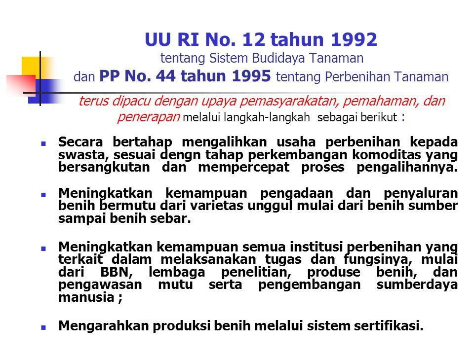 UU RI No. 12 tahun 1992 tentang Sistem Budidaya Tanaman dan PP No. 44 tahun 1995 tentang Perbenihan Tanaman terus dipacu dengan upaya pemasyarakatan,