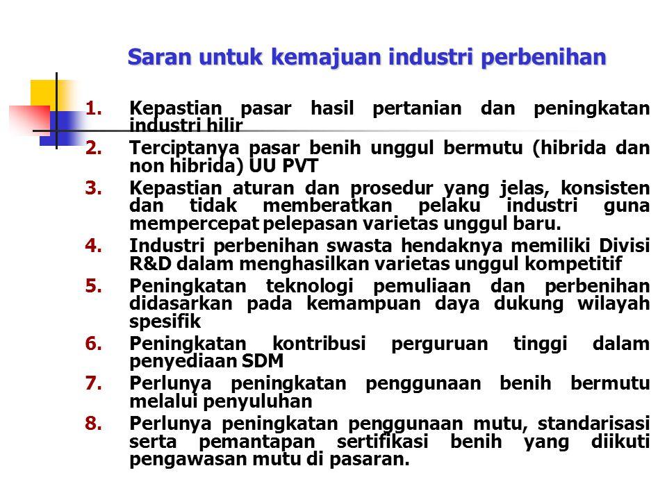 Saran untuk kemajuan industri perbenihan 1.Kepastian pasar hasil pertanian dan peningkatan industri hilir 2.Terciptanya pasar benih unggul bermutu (hi