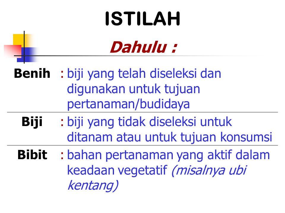 ISTILAH Dahulu : Benih:biji yang telah diseleksi dan digunakan untuk tujuan pertanaman/budidaya Biji:biji yang tidak diseleksi untuk ditanam atau untu