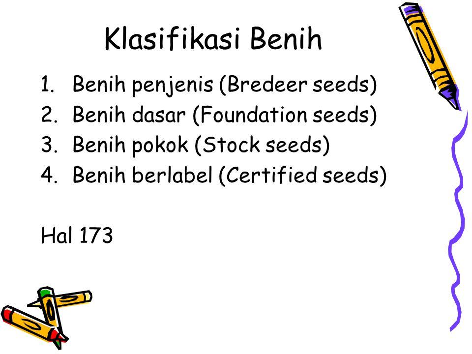 Klasifikasi Benih 1.Benih penjenis (Bredeer seeds) 2.Benih dasar (Foundation seeds) 3.Benih pokok (Stock seeds) 4.Benih berlabel (Certified seeds) Hal 173
