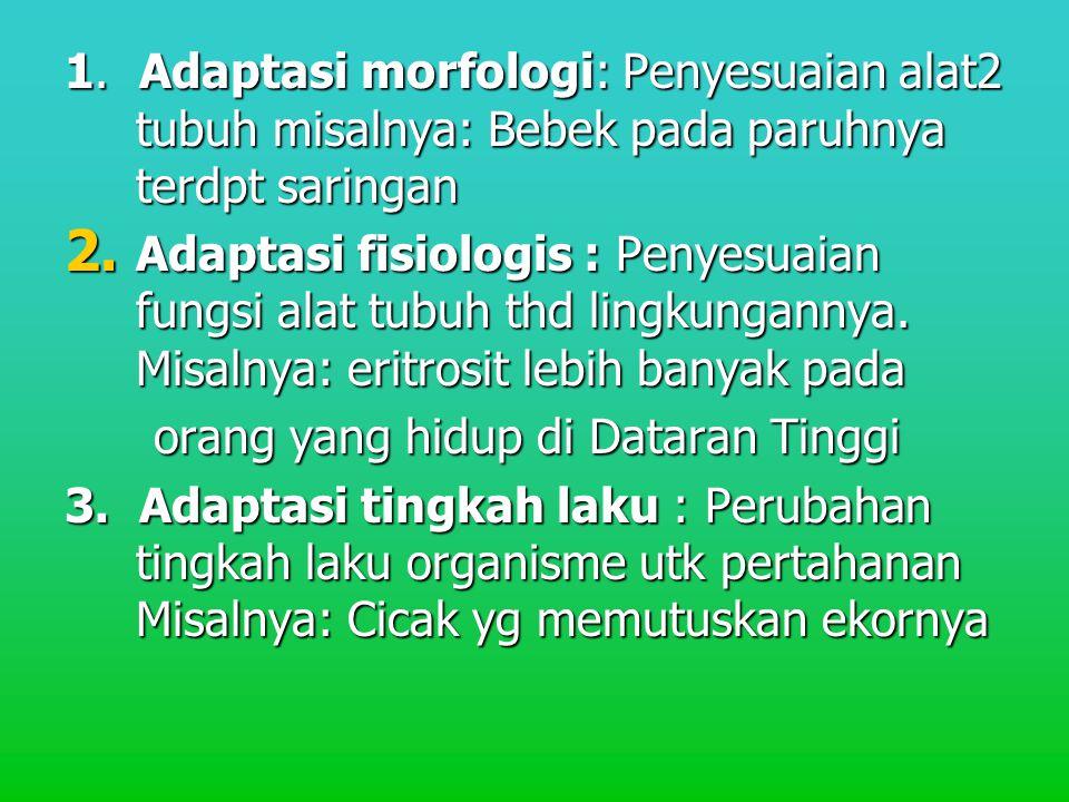 1. Adaptasi morfologi: Penyesuaian alat2 tubuh misalnya: Bebek pada paruhnya terdpt saringan 2. Adaptasi fisiologis : Penyesuaian fungsi alat tubuh th
