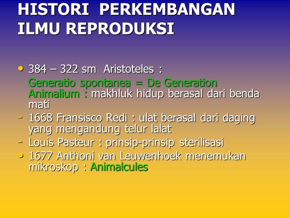 384 – 322 sm Aristoteles : 384 – 322 sm Aristoteles : Generatio spontanea = De Generation Animalium : makhluk hidup berasal dari benda mati Generatio