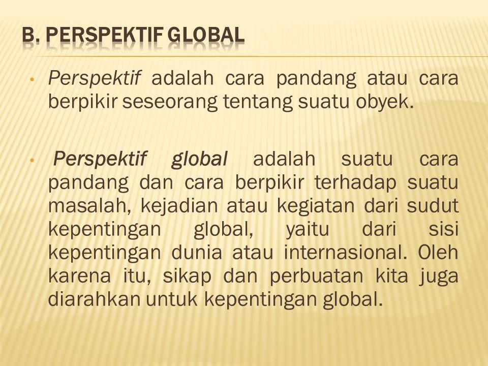 Perspektif adalah cara pandang atau cara berpikir seseorang tentang suatu obyek. Perspektif global adalah suatu cara pandang dan cara berpikir terhada