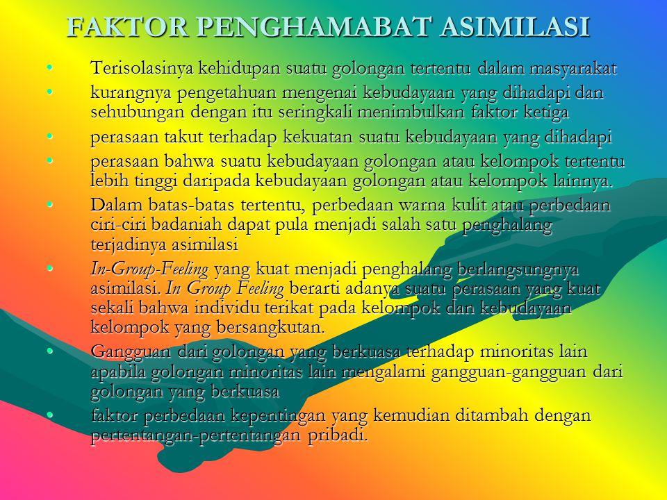 FAKTOR YANG MEMPERMUDAH ASIMILASI ToleransiToleransi kesempatan-kesempatan yang seimbang di bidang ekonomikesempatan-kesempatan yang seimbang di bidan
