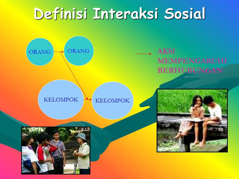 Definisi Interaksi Sosial KELOMPOK ORANG KELOMPOK AKSI MEMPENGARUHI BERHUBUNGAN