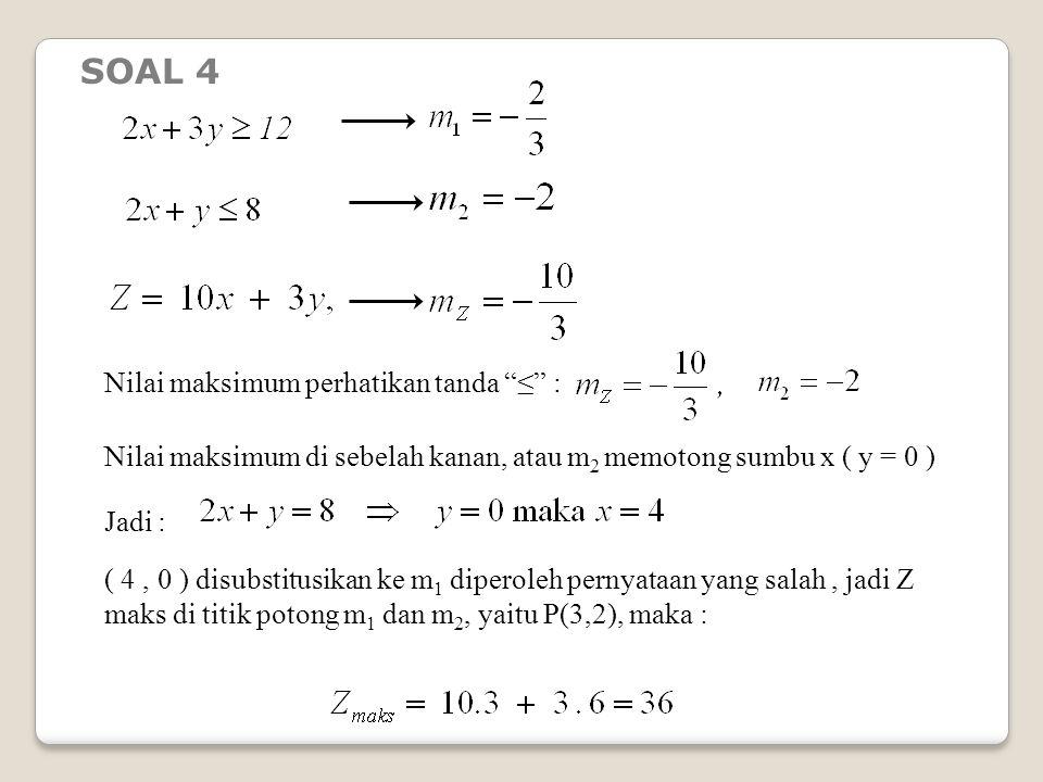 Nilai maksimum perhatikan tanda ≤ : Nilai maksimum di sebelah kanan, atau m 2 memotong sumbu x ( y = 0 ) Jadi : ( 4, 0 ) disubstitusikan ke m 1 diperoleh pernyataan yang salah, jadi Z maks di titik potong m 1 dan m 2, yaitu P(3,2), maka : SOAL 4