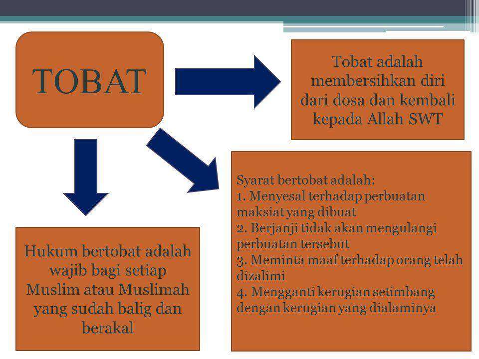 TOBAT Tobat adalah membersihkan diri dari dosa dan kembali kepada Allah SWT Hukum bertobat adalah wajib bagi setiap Muslim atau Muslimah yang sudah ba