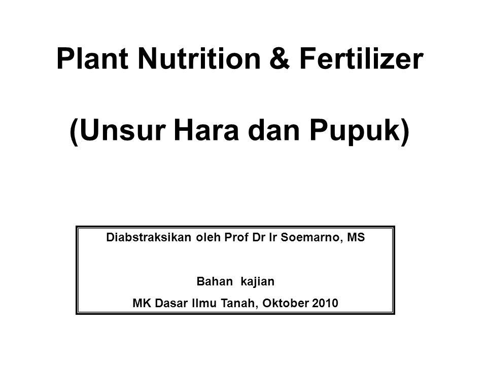 Plant Nutrition & Fertilizer (Unsur Hara dan Pupuk) Diabstraksikan oleh Prof Dr Ir Soemarno, MS Bahan kajian MK Dasar Ilmu Tanah, Oktober 2010