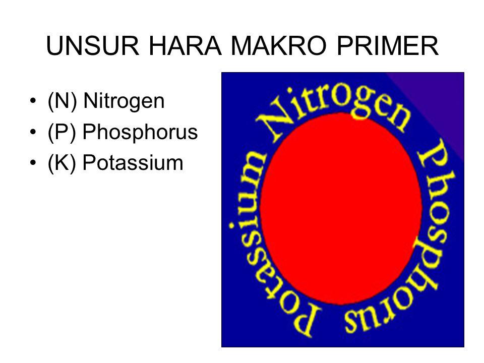 UNSUR HARA MAKRO PRIMER (N) Nitrogen (P) Phosphorus (K) Potassium