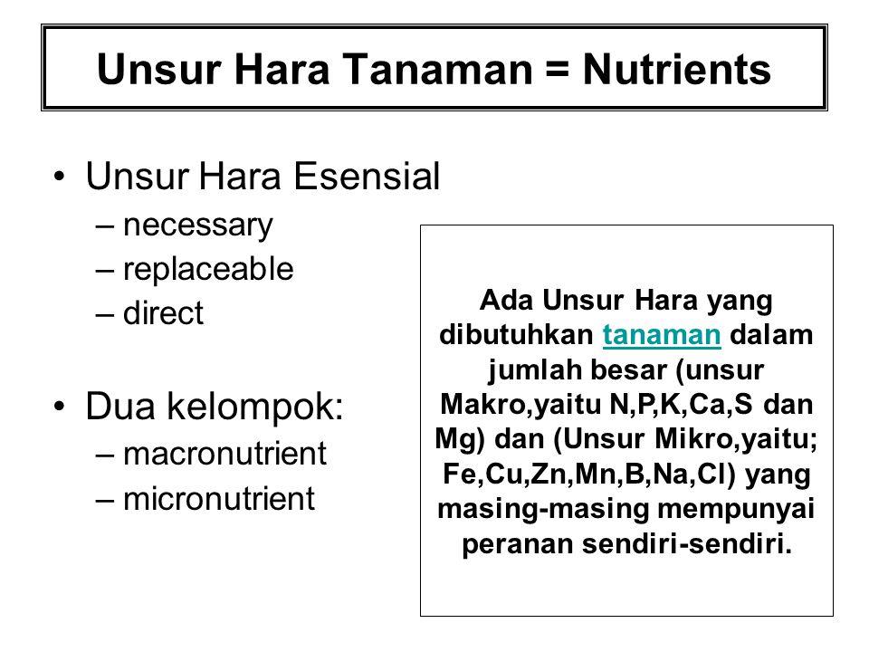 Unsur Hara Tanaman = Nutrients Unsur Hara Esensial –necessary –replaceable –direct Dua kelompok: –macronutrient –micronutrient Ada Unsur Hara yang dib