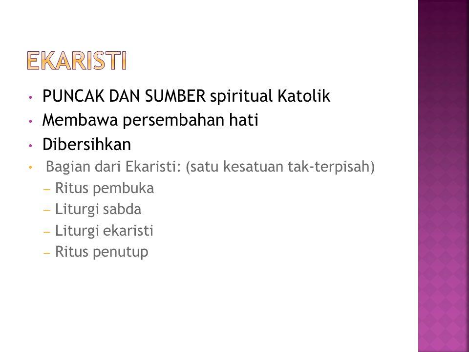 PUNCAK DAN SUMBER spiritual Katolik Membawa persembahan hati Dibersihkan Bagian dari Ekaristi: (satu kesatuan tak-terpisah) – Ritus pembuka – Liturgi