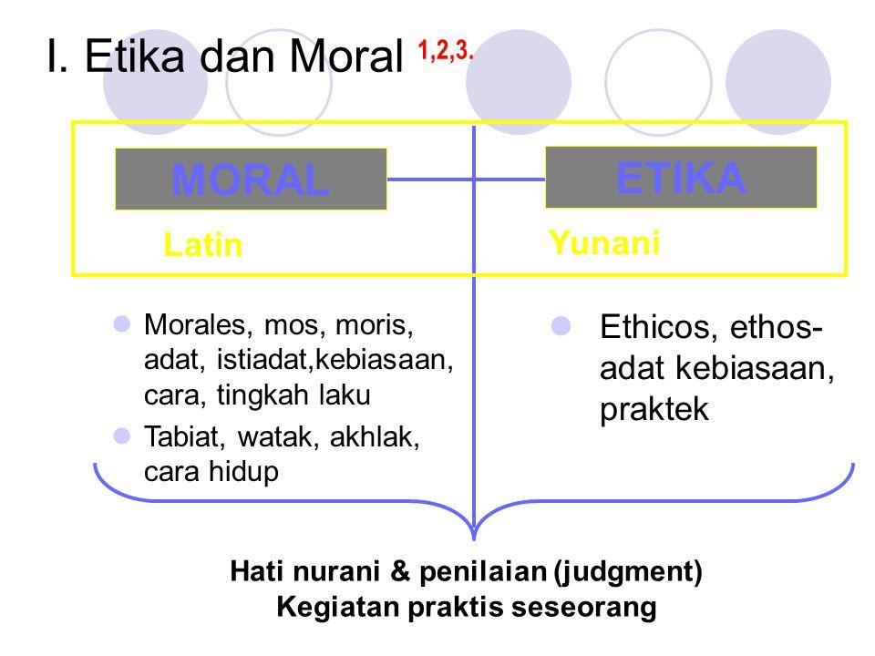 I. Etika dan Moral 1,2,3. Latin Morales, mos, moris, adat, istiadat,kebiasaan, cara, tingkah laku Tabiat, watak, akhlak, cara hidup Yunani Ethicos, et