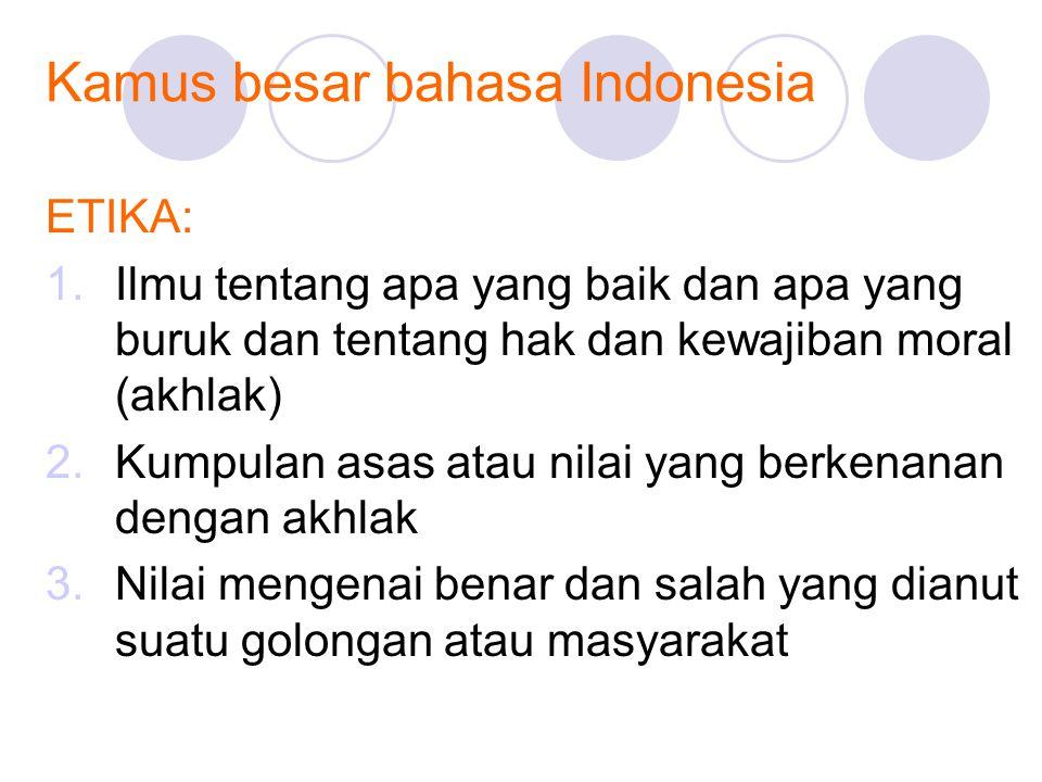 Kamus besar bahasa Indonesia ETIKA: 1.Ilmu tentang apa yang baik dan apa yang buruk dan tentang hak dan kewajiban moral (akhlak) 2.Kumpulan asas atau