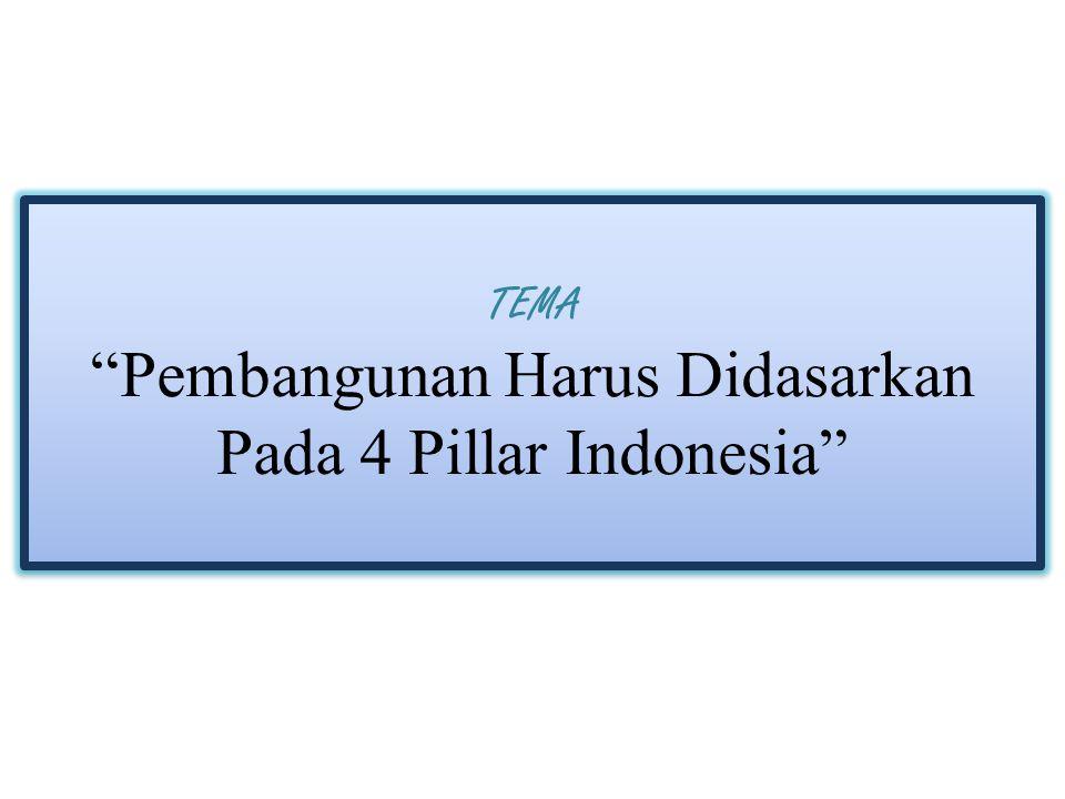 """TEMA """"Pembangunan Harus Didasarkan Pada 4 Pillar Indonesia"""""""