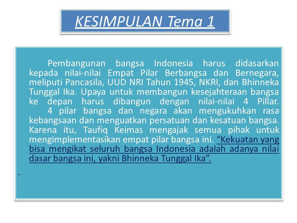 KESIMPULAN Tema 1 Pembangunan bangsa Indonesia harus didasarkan kepada nilai-nilai Empat Pilar Berbangsa dan Bernegara, meliputi Pancasila, UUD NRI Tahun 1945, NKRI, dan Bhinneka Tunggal Ika.