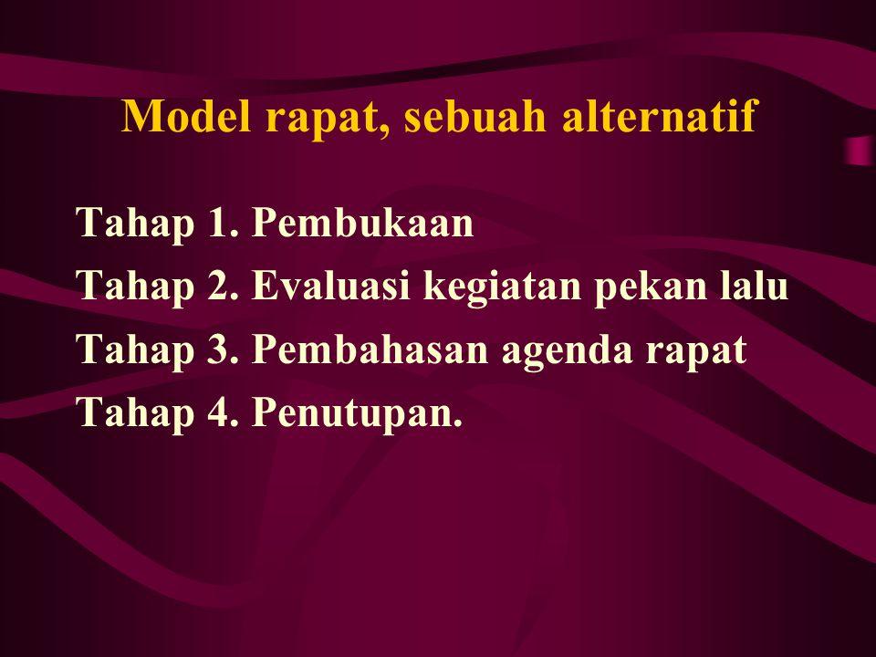 Model rapat, sebuah alternatif Tahap 1. Pembukaan Tahap 2. Evaluasi kegiatan pekan lalu Tahap 3. Pembahasan agenda rapat Tahap 4. Penutupan.