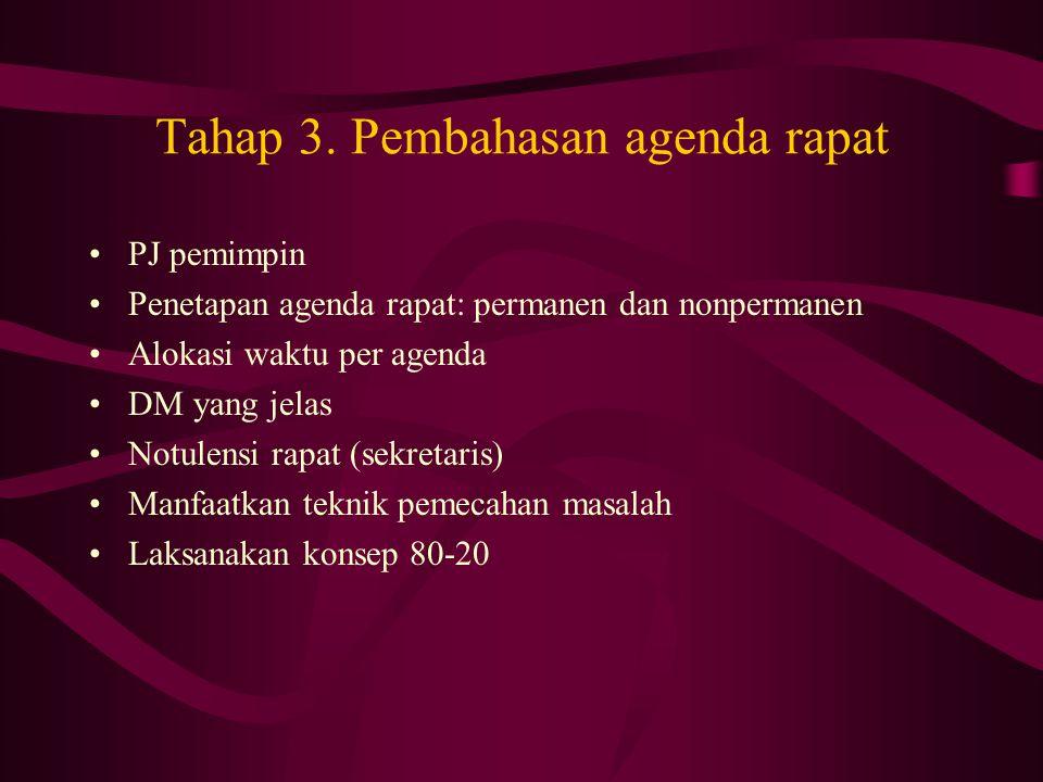 Tahap 3. Pembahasan agenda rapat PJ pemimpin Penetapan agenda rapat: permanen dan nonpermanen Alokasi waktu per agenda DM yang jelas Notulensi rapat (
