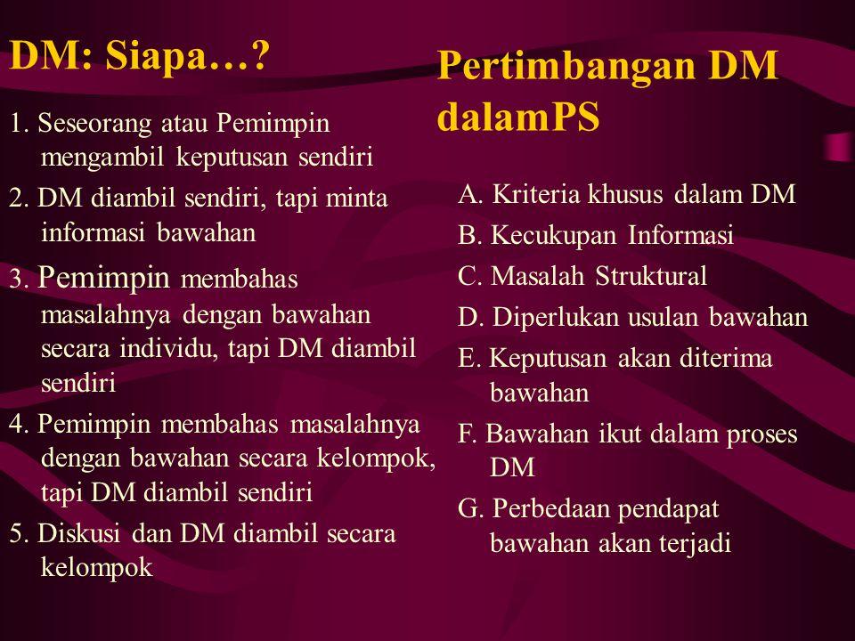 DM: Siapa…? 1. Seseorang atau Pemimpin mengambil keputusan sendiri 2. DM diambil sendiri, tapi minta informasi bawahan 3. Pemimpin membahas masalahnya