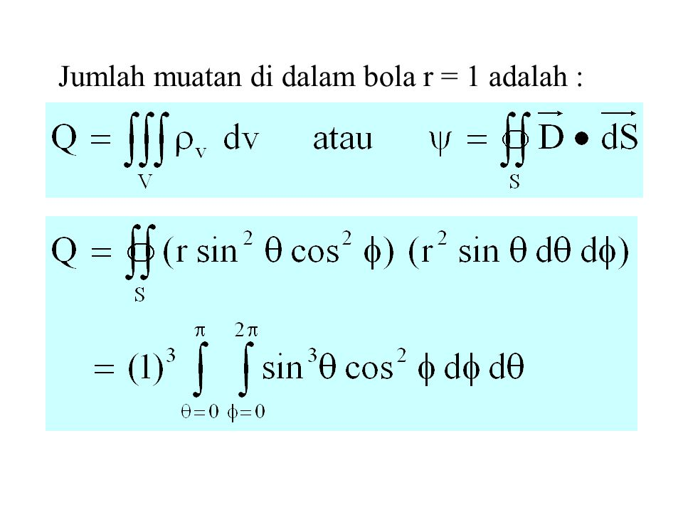 Jumlah muatan di dalam bola r = 1 adalah :