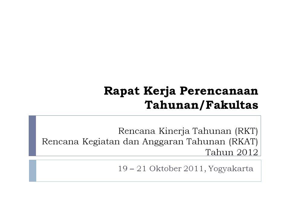 Rapat Kerja Perencanaan Tahunan/Fakultas Rencana Kinerja Tahunan (RKT) Rencana Kegiatan dan Anggaran Tahunan (RKAT) Tahun 2012 19 – 21 Oktober 2011, Y