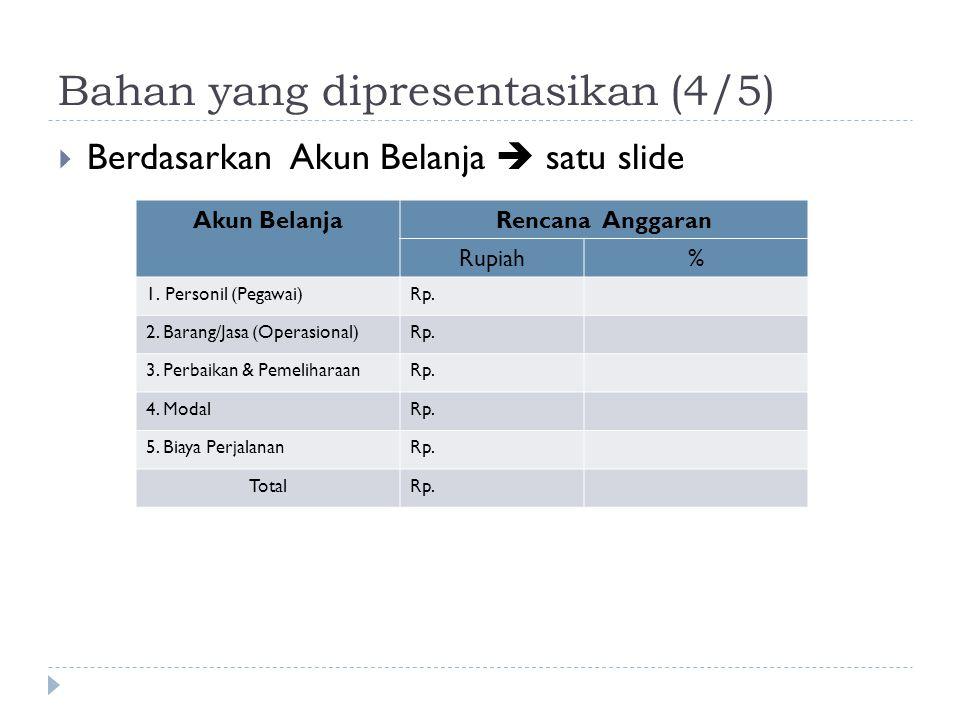 Bahan yang dipresentasikan (4/5)  Berdasarkan Akun Belanja  satu slide Jenis Belanja% Personil Barang/Jasa Pemeliharaan Perjalanan Modal Akun Belanj