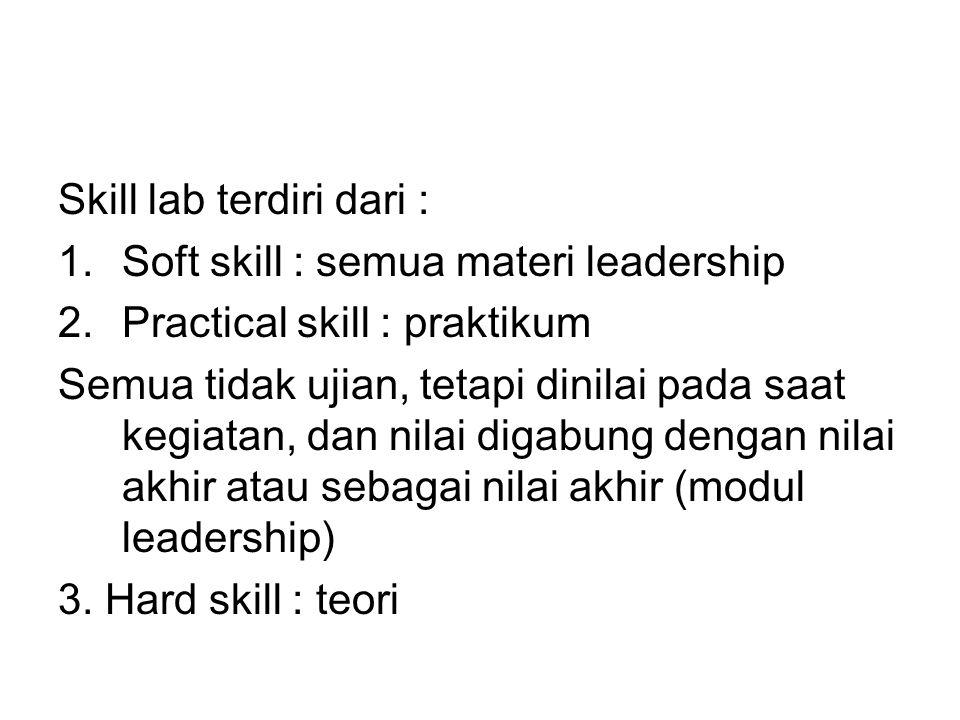 Skill lab terdiri dari : 1.Soft skill : semua materi leadership 2.Practical skill : praktikum Semua tidak ujian, tetapi dinilai pada saat kegiatan, dan nilai digabung dengan nilai akhir atau sebagai nilai akhir (modul leadership) 3.