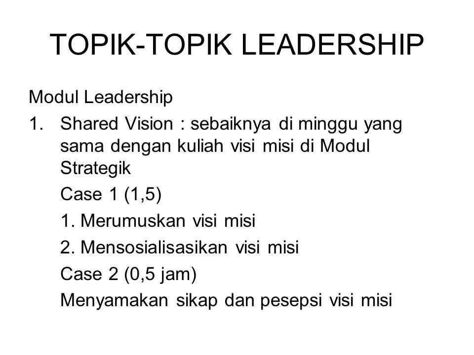 TOPIK-TOPIK LEADERSHIP Modul Leadership 1.Shared Vision : sebaiknya di minggu yang sama dengan kuliah visi misi di Modul Strategik Case 1 (1,5) 1.