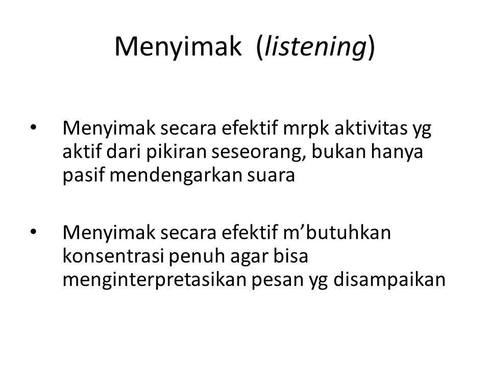 Menyimak (listening) Menyimak secara efektif mrpk aktivitas yg aktif dari pikiran seseorang, bukan hanya pasif mendengarkan suara Menyimak secara efek
