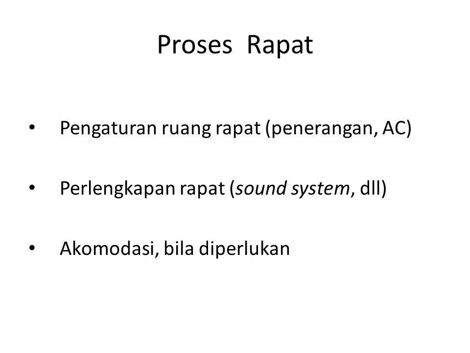 Proses Rapat Pengaturan ruang rapat (penerangan, AC) Perlengkapan rapat (sound system, dll) Akomodasi, bila diperlukan
