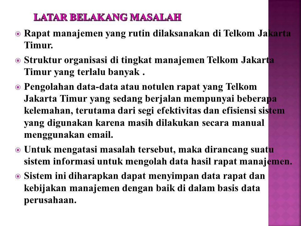  Rapat manajemen yang rutin dilaksanakan di Telkom Jakarta Timur.  Struktur organisasi di tingkat manajemen Telkom Jakarta Timur yang terlalu banyak